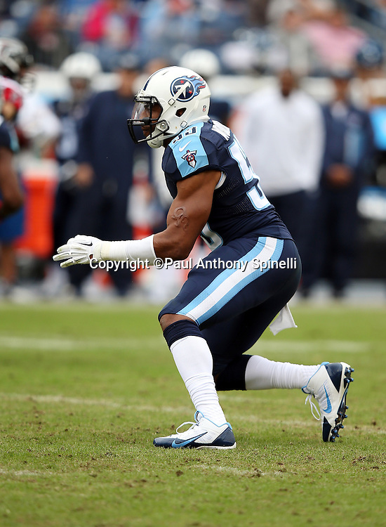 Tennessee Titans linebacker Wesley Woodyard (59) chases the action during the 2015 week 7 regular season NFL football game against the Atlanta Falcons on Sunday, Oct. 25, 2015 in Nashville, Tenn. The Falcons won the game 10-7. (©Paul Anthony Spinelli)