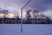 London homes and football goal posts set in a few inches of snow during the early 2010 snows that gripped the UK.