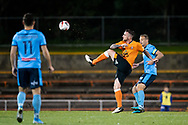 SYDNEY, AUSTRALIA - AUGUST 07: Brisbane Roar player Roy O'Donovan (9) kicks the ball during the FFA Cup round of 32 football match between Sydney FC and Brisbane Roar FC on August 07, 2019 at Leichhardt Oval in Sydney, Australia. (Photo by Speed Media/Icon Sportswire)