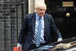 © Licensed to London News Pictures. 04/09/2019. London, UK. British Prime Minister Boris Johnson leaves No.10 Downing St to attend Prime Ministers Time in the Houses of Parliament. Photo credit: Ray Tang/LNP