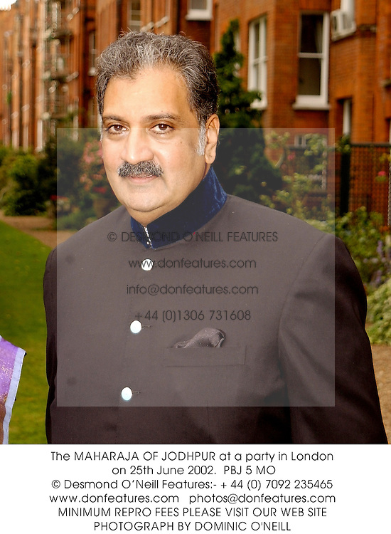 The MAHARAJA OF JODHPUR at a party in London on 25th June 2002.<br />