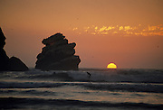 Surfing, Surfer, Sunset, Ocean, Pacific Ocean, Santa Cruz, California