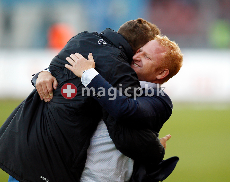 FC Basel head coach ad interim Heiko Vogel (R) and midfielder Xherdan Shaqiri celebrate their victory in the AXPO Super League (National League A) soccer match between FC Zuerich (FCZ) and FC Basel (FCB) at the Letzigrund stadium in Zurich, Switzerland, Sunday, October 23, 2011. (Photo by Patrick B. Kraemer / MAGICPBK)