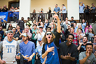 3/11/16 – Medford/Somerville, MA – Fans celebrate the Jumbos' victory in the NCAA Sweet 16 tournament game against Johnson and Wales University on Friday, March 11, 2016. (Evan Sayles / The Tufts Daily)
