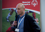 Mirek Krogulec (SOEE) during the 12th Special Olympics Football Conference 2014 at Novotel Hotel in Warsaw on April 11, 2014.<br /> <br /> Poland, Warsaw, April 11, 2014<br /> <br /> Picture also available in RAW (NEF) or TIFF format on special request.<br /> <br /> For editorial use only. Any commercial or promotional use requires permission.<br /> <br /> Mandatory credit:<br /> Photo by © Adam Nurkiewicz / Mediasport