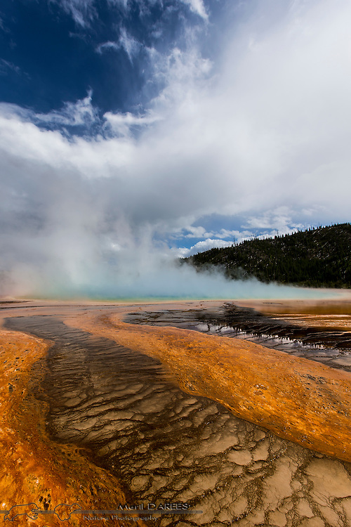 A view of Grand Prismatic, the orange color being due to an algae. Yellowstone National Park. USA.