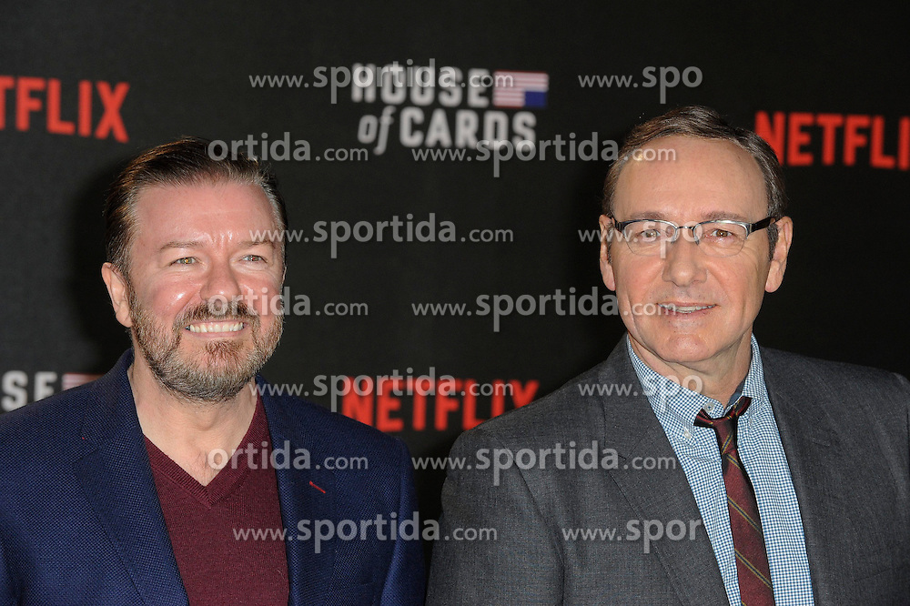 Ricky Gervais and Kevin Spacey attends the World Premiere of 'House of Cards' Season 3 at The Empire Cinema on February 26, 2015 in London, England. EXPA Pictures &copy; 2015, PhotoCredit: EXPA/ Photoshot/ Euan Cherry<br /> <br /> *****ATTENTION - for AUT, SLO, CRO, SRB, BIH, MAZ only*****