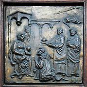 Religious scene bas-relief Bucharest, Romania