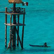 Kayaking at Garrafon park. Isla Mujeres, Quintana Roo, Mexico.