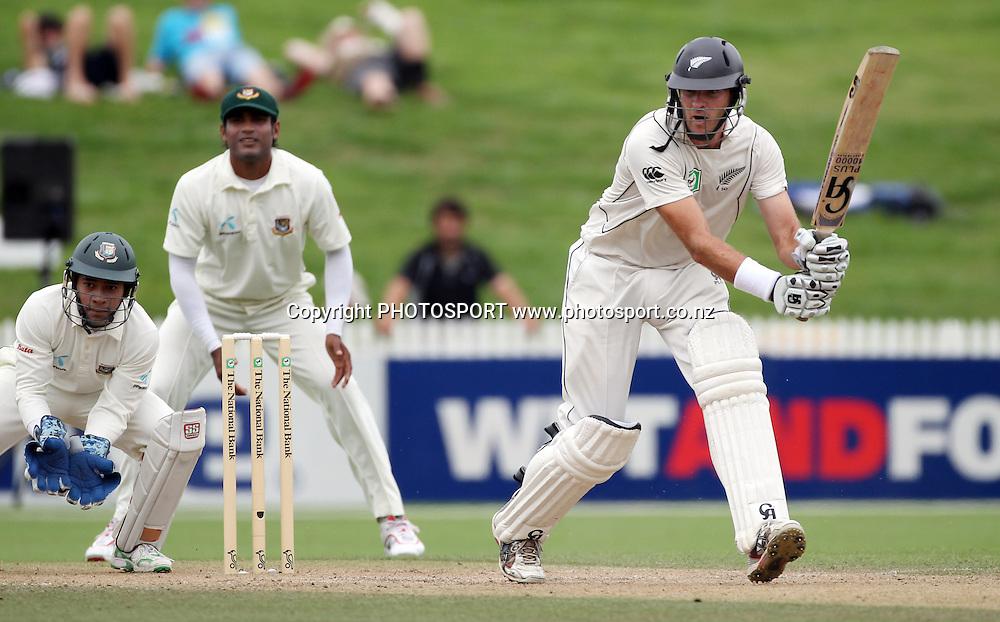 New Zealand opening batsman Tim McIntosh batting.<br />Day 4. Test match cricket. One off test.<br />New Zealand Black Caps versus Bangladesh.<br />Seddon Park, Hamilton, New Zealand.<br />Thursday 18 February 2010.<br />Photo: Andrew Cornaga/PHOTOSPORT