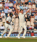 Wicket and series win - Sam Curran of England takes the final India wicket of Ravichandran Ashwin of India to win the series during the 4th day of the 4th SpecSavers International Test Match 2018 match between England and India at the Ageas Bowl, Southampton, United Kingdom on 2 September 2018.