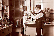 Scientist at work in his lab circa 1900