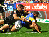 Ryan Hall of Leeds Rhinos scores the try against Warrington Wolves during the Ladbrokes Challenge Cup Semi-Final match at the University of Bolton Stadium, Bolton<br /> Picture by Stephen Gaunt/Focus Images Ltd +447904 833202<br /> 05/08/2018
