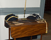 officers swords; hats; gloves on table; Augustine Moore House; Yorktown Battlefield; Colonial National Historical Park; Yorktown; VA