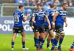 Bath's Freddie Burns (centre) celebrates scoring their first try during the Gallagher Premiership match at the Recreation Ground, Bath.