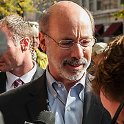 Lancaster, PA, USA - November 3, 2014: Democrat Tom Wolf makes a campaign stop and speaks with supporters the day before he was elected Governor of Pennsylvania.