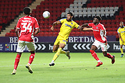 AFC Wimbledon striker Jake Jervis (10) waiting for a volley during the EFL Trophy match between Charlton Athletic and AFC Wimbledon at The Valley, London, England on 4 September 2018.