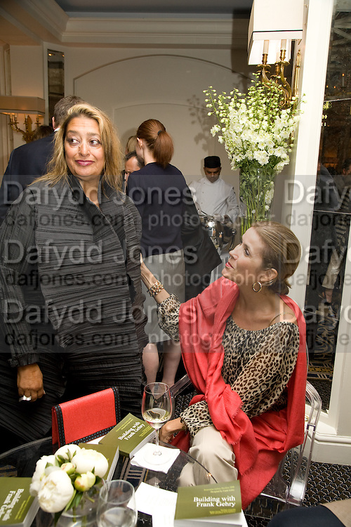 ZAHA HADID; LADY PALUMBO, Frank Gehry Serpentine Pavilion opening event: Berkeley Hotel. London. 18 July 2008 *** Local Caption *** -DO NOT ARCHIVE-© Copyright Photograph by Dafydd Jones. 248 Clapham Rd. London SW9 0PZ. Tel 0207 820 0771. www.dafjones.com.