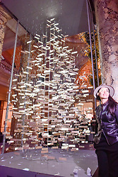 © Licensed to London News Pictures. 28/11/2017. London, UK.  Es Devlin, a leading stage and performance designer, unveils her design of the annual Christmas Tree in the Grand Entrance at the V&A museum in South Kensington to kick off the museum's Sounds Like Christmas season.  Photo credit: Stephen Chung/LNP