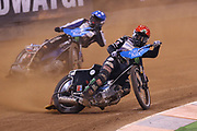 Tai Woffinden holding off the challenge from Matej Zagar during the 2019 Adrian Flux British FIM Speedway Grand Prix at the Principality Stadium, Cardiff, Wales on 21 September 2019.