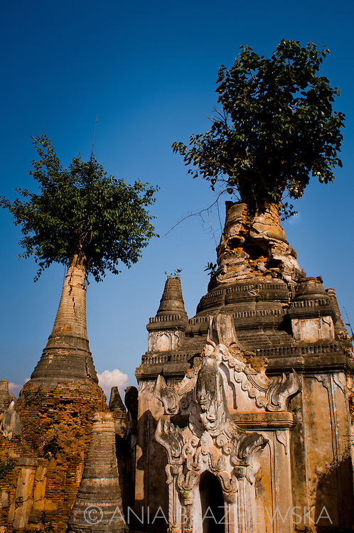 Myanmar/Burma, Inthein. Ruined pagodas - part of the Shwe Inn Thein Paya, a complex of 1054 weather-beaten zedi. Some of them have been reconstructed using donations from local Buddhists.
