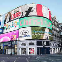 London, UK - 25 December 2014: Piccadilly Circus on early Christmas morning.