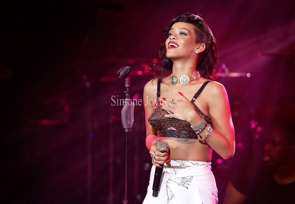 Singer Rihanna performs live on stage as part of her 777 tour at The Forum on November 19, 2012 in London, England.