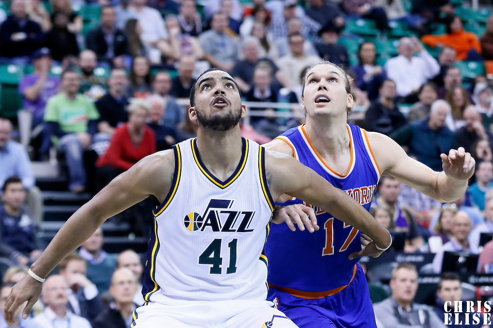09 December 2015: Utah Jazz forward Trey Lyles (41) vies for the rebound with New York Knicks forward Lou Amundson (17) during the Utah Jazz 106-85 victory over the New York Knicks, at the Vivint Smart Home Arena, Salt Lake City, Utah, USA.