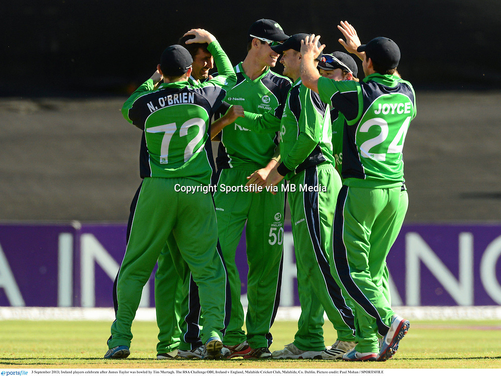 3 September 2013; Ireland players celebrate after James Taylor was bowled by Tim Murtagh. The RSA Challenge ODI, Ireland v England, Malahide Cricket Club, Malahide, Co. Dublin. Picture credit: Paul Mohan / SPORTSFILE