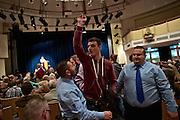 Dietzenbach   09 October 2015<br /> <br /> Am Freitag (09.10.2015) f&uuml;hrte die Partei &quot;Alternative f&uuml;r Deutschland&quot; (AfD) im B&uuml;rgerhaus in der hessischen Kleinstadt Dietzenbach eine Veranstaltung unter dem Motto &quot;Internationale Politik und Asylchaos&quot; durch, Hauptredner war Dr. Alexander Gauland.<br /> Hier: Ein linker Aktivist, der sich gegen die teilweise hemmungslos rassistischen Reden und Diskussionsbeitr&auml;ge ge&auml;u&szlig;ert hatte, wird von Security-Mitarbeitern aus dem Saal gedr&auml;ngt.<br /> <br /> &copy;peter-juelich.com<br /> <br /> [No Model Release   No Property Release]