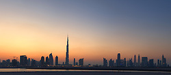 Evening view of Burj Khalifa tower and skyline of Dubai United Arab Emirates