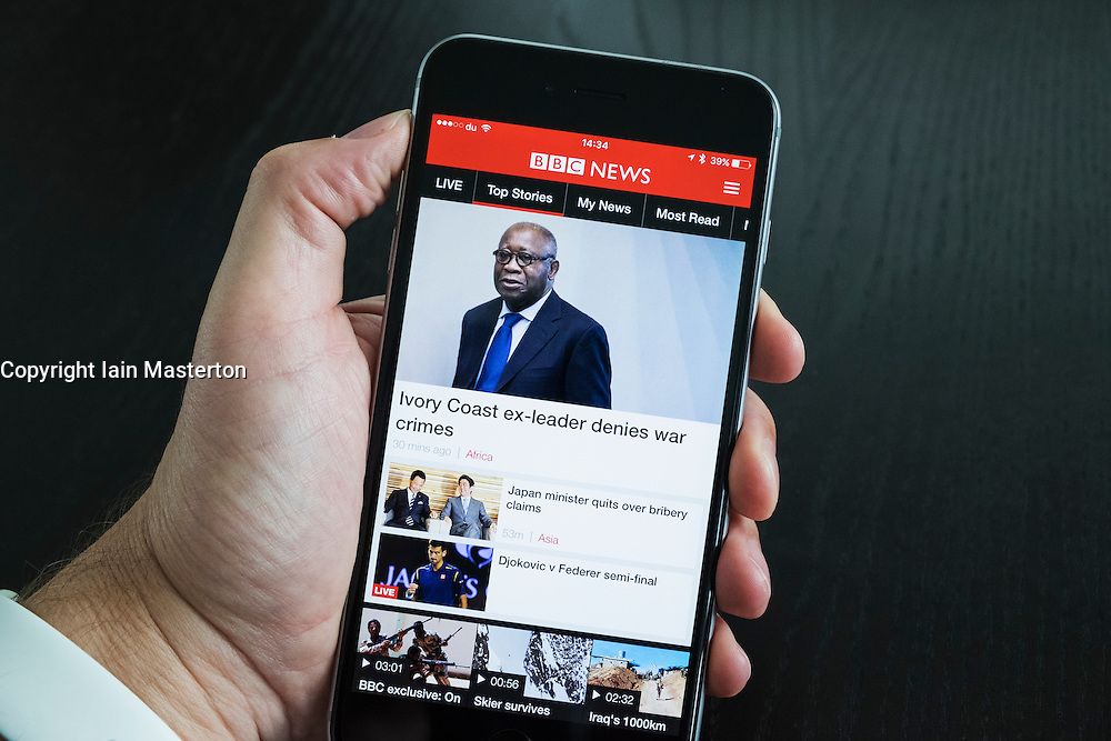 BBC News website app on an iPhone 6 Plus smart phone