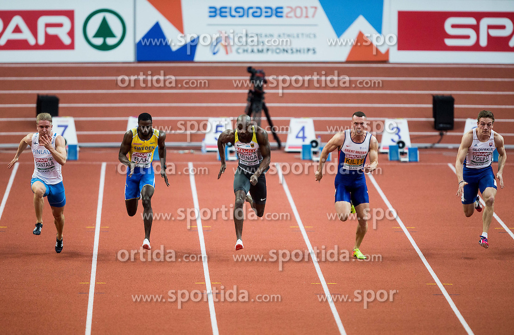 Eetu Rantala of Finland, Sulayman Bah of Sweden, Aleixo Platini Menga of Germany, Richard Kilty of Great Britain and Ján Volko of Slovakia compete in the 60m Men heats on day two of the 2017 European Athletics Indoor Championships at the Kombank Arena on March 4, 2017 in Belgrade, Serbia. Photo by Vid Ponikvar / Sportida