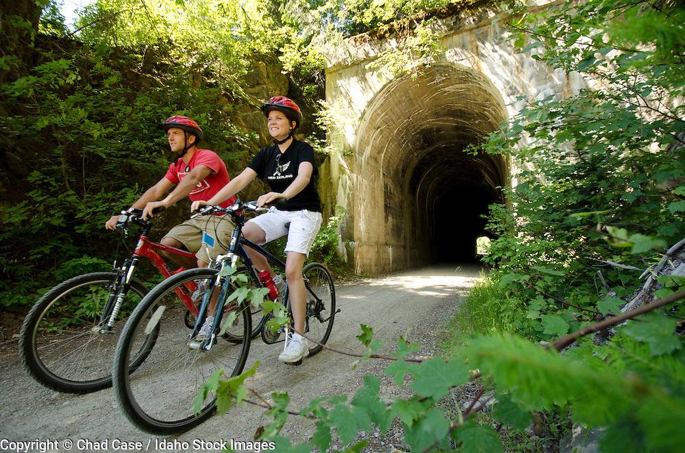Bikers enjoy the Hiawatha Trail in northern Idaho.