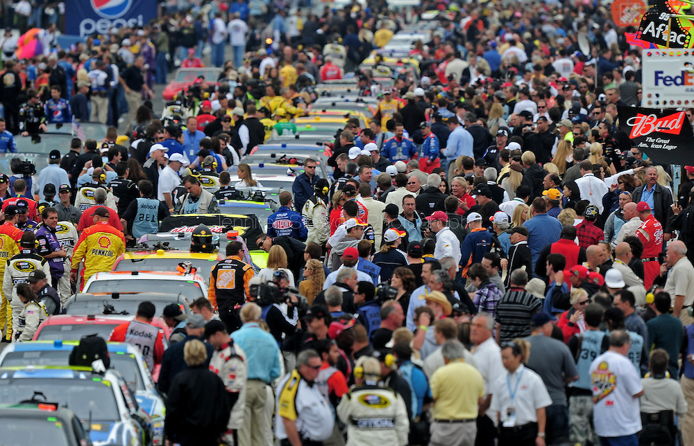 Oct. 11, 2009; Fontana, CA, USA; NASCAR Sprint Cup Series general view of pit road prior to the Pepsi 500 at Auto Club Speedway. Mandatory Credit: Jennifer Stewart-US PRESSWIRE