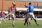 Hamilton Accademical goalkeeper Gary Woods (1) shileds the sun from his eyes at a corner during the Ladbrokes Scottish Premiership match between Hamilton Academical FC and Rangers at New Douglas Park, Hamilton, Scotland on 24 February 2019.