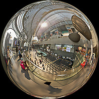 Kyoto Train Station Level Two -- Mirror Ball View. Composite of 44 images taken with a Leica CL camera and 18 mm f/2.8 lens (ISO 400, 18 mm, f/5.6, 1/60 sec). Raw images processed with Capture One Pro and AutoPano Giga Pro.