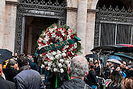 Roma 5 Novembre 2012.Il funerale di Pino Rauti fuori dalla basilica di San Marco a Piazza Venezia. La corona di Ama spa.The funeral of Pino Rauti out from the Basilica of San Marco in Venice Piazza