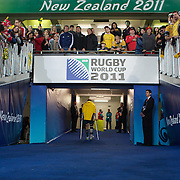 An injured Quade Cooper, Australia, on crutches, heads down the tunnel after the Australia V Wales Bronze Final match at the IRB Rugby World Cup tournament, Auckland, New Zealand. 21st October 2011. Photo Tim Clayton...