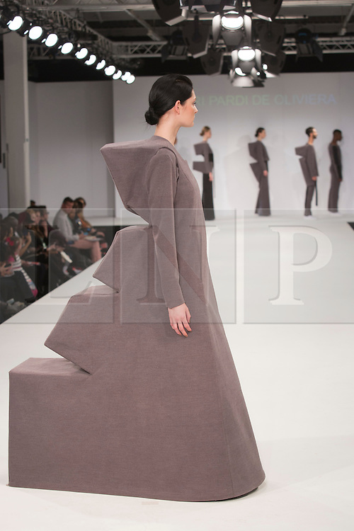 © Licensed to London News Pictures. 31/05/2015. London, UK. Collection by Yuri Pardi de Oliveira. Fashion show of the University of East London (UEL) at Graduate Fashion Week 2015. Graduate Fashion Week takes place from 30 May to 2 June 2015 at the Old Truman Brewery, Brick Lane. Photo credit : Bettina Strenske/LNP