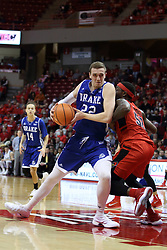 21 February 2018:  Casey Schlatter leans in on Milik Yarbrough during a College mens basketball game between the Drake Bulldogs and Illinois State Redbirds in Redbird Arena, Normal IL