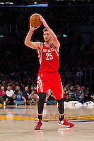 18 November 2012: Forward (25) Chandler Parsons of the Houston Rockets looks to pass the ball against the Los Angeles Lakers during the first half of the Lakers 119-108 victory over the Rockets at the STAPLES Center in Los Angeles, CA.