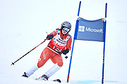 Schladming, Austria - 2017 March 19: Caroline Dresling from Denmark (124) competes in Alpine Skiing Competition while Special Olympics World Winter Games Austria 2017 on the &quot;Sepp-Walcher-Downhill&quot;<br /> (Slope 32) near the &quot;Tauernalm&quot; in Rohrmoos on March 19, 2017 in Schladming, Austria.<br /> <br /> Mandatory credit:<br /> Photo by &copy; Adam Nurkiewicz / Mediasport<br /> <br /> Adam Nurkiewicz declares that he has no rights to the image of people at the photographs of his authorship.<br /> <br /> Picture also available in RAW (NEF) or TIFF format on special request.<br /> <br /> Any editorial, commercial or promotional use requires written permission from the author of image.<br /> <br /> Image can be used in the press when the method of use and the signature does not hurt people on the picture.