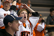 The Corner Crew reacts to a call during an exhibition game at RIT's Gene Polisseni Center on Monday, September 29, 2014.