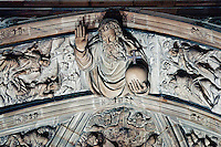 Milan, Italy, Duomo Cathedral - detail on the ceiling of stone sculptured frieze.
