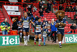 Bristol Rugby Winger David Lemi (capt) leads the side out with the mascot - Mandatory byline: Rogan Thomson/JMP - 22/11/2015 - RUGBY UNION - Ashton Gate Stadium - Bristol, England - Bristol Rugby v Scarlets Premiership Select - B&I Cup.
