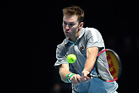 Tennis - 2018 Nitto ATP Finals at The O2 - Day Five<br /> <br /> Group Doubles Group Llodra/Santoro: Jamie Murray (GB) & Bruno Soares (Bra) vs. Henri Kontinen (Fin) & John Peers (Aus)<br /> <br /> John Peers plays a backhand.<br /> <br /> COLORSPORT/ASHLEY WESTERN