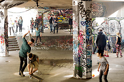 A quiet moment, as skaters of all ages enjoyed the concrete space, celebrating a year of the Long Live Southbank campaign