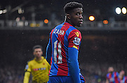 Wilfiried Zaha watches his back during the Barclays Premier League match between Crystal Palace and Watford at Selhurst Park, London, England on 13 February 2016. Photo by Michael Hulf.