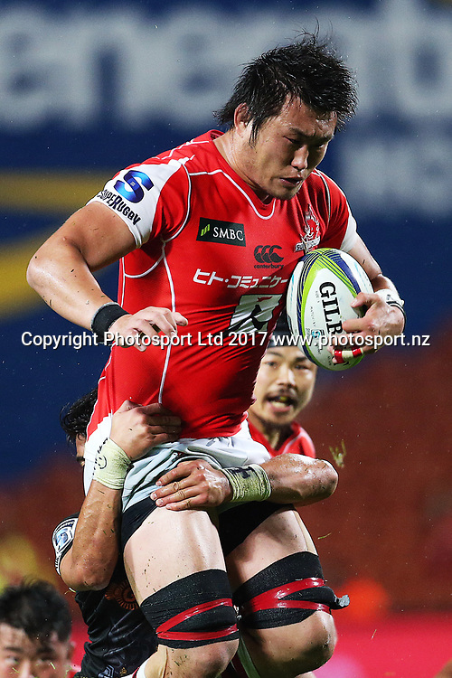 Sunwolves lock Shinya Makabe in action during the Super Rugby rugby match - Chiefs v Sunwolves played at FMG Stadium Waikato, Hamilton, New Zealand on Saturday 29 April 2017.  Copyright photo: Bruce Lim / www.photosport.nz
